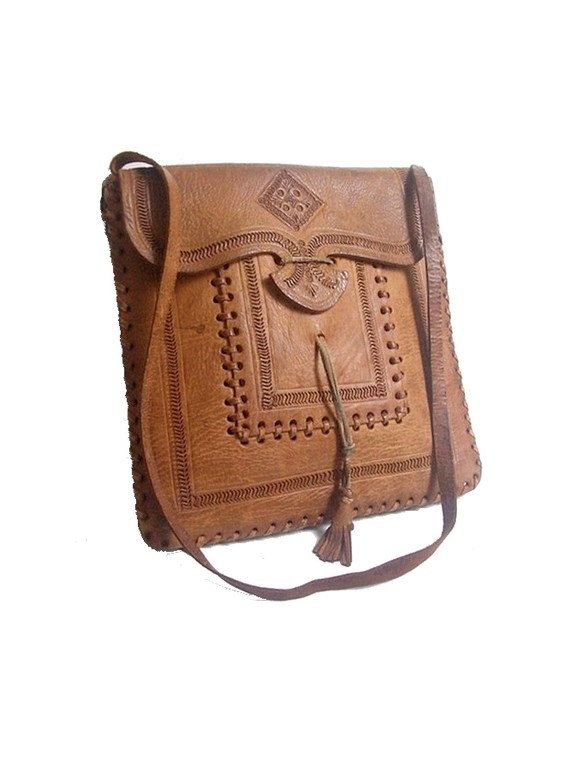 70s MOROCCAN BAG tooled / shoulder by lesclodettes on Etsy, $59.00