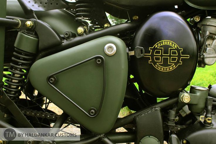 Encode ~ Beautifully painted Military Green Royal Enfield Classic Haldarkar Customs