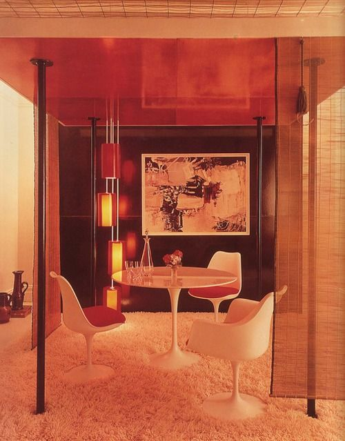 1970s interior decor. I love this so much. I think it's because of the tulip furniture on the shaggy carpet.