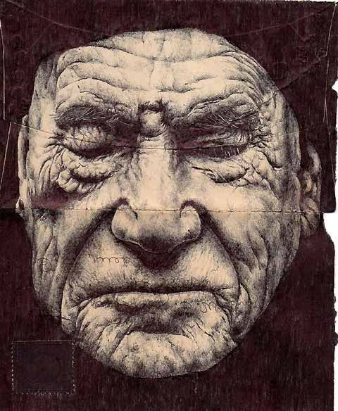 Envelope drawings by Mark Powell. Amazing illustrations of elderly men on the backs of old envelopes