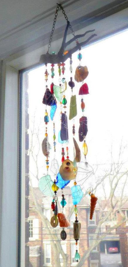 Outer Banks Custom Wall Art - Handmade Sea Glass, Wire, Glass Beads and Driftwood Suncatcher.