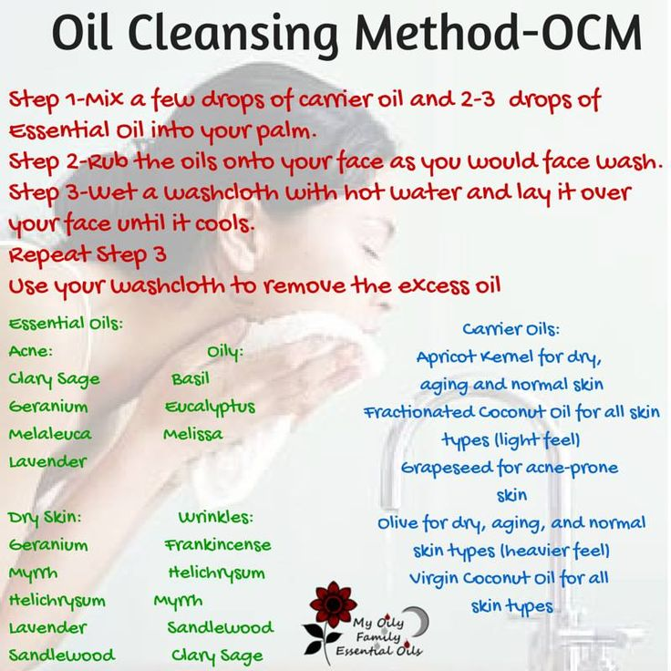 oil cleansing method using different essential oils for different skin types- acne, dry, oily, and wrinkles