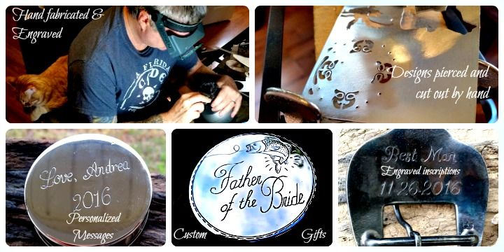 Custom belt buckles, personalized jewelry, dip cans, and accessories. Great gifts for yourself or to give away!  Bluegrass Engraving.
