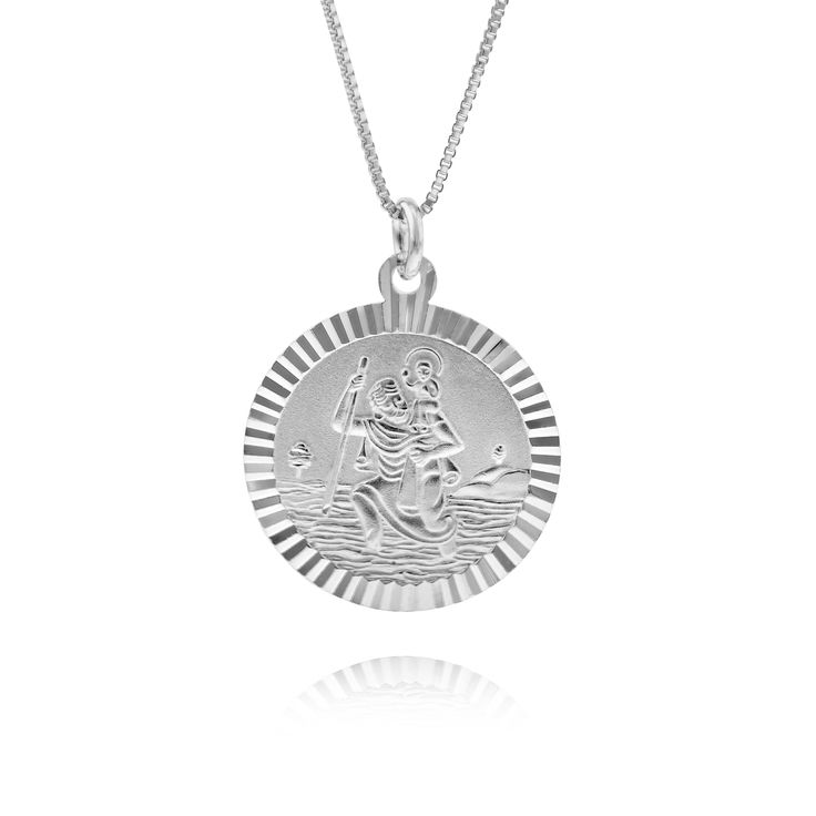 Small Scalloped Edge St Christopher Necklace