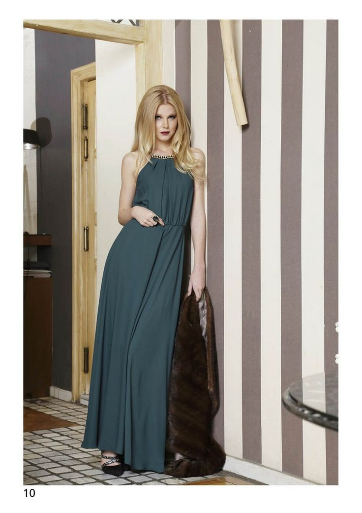 NINA LONG DRESS WITH NECKLACE DETAIL