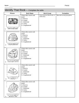 identify types of rocks worksheet it is student and worksheets. Black Bedroom Furniture Sets. Home Design Ideas