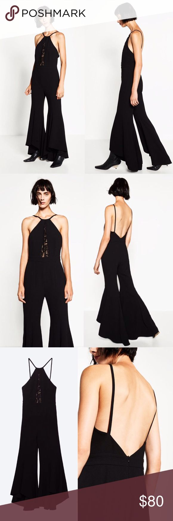 ZARA BLACK LACE JUMPSUIT WITH FLARED TROUSERS ZARA BLACK JUMPSUIT  Features: Flared trousers, lace detail at the neck, back zip closure. Outer shell and lining: 100% polyester. Zara Pants Jumpsuits & Rompers