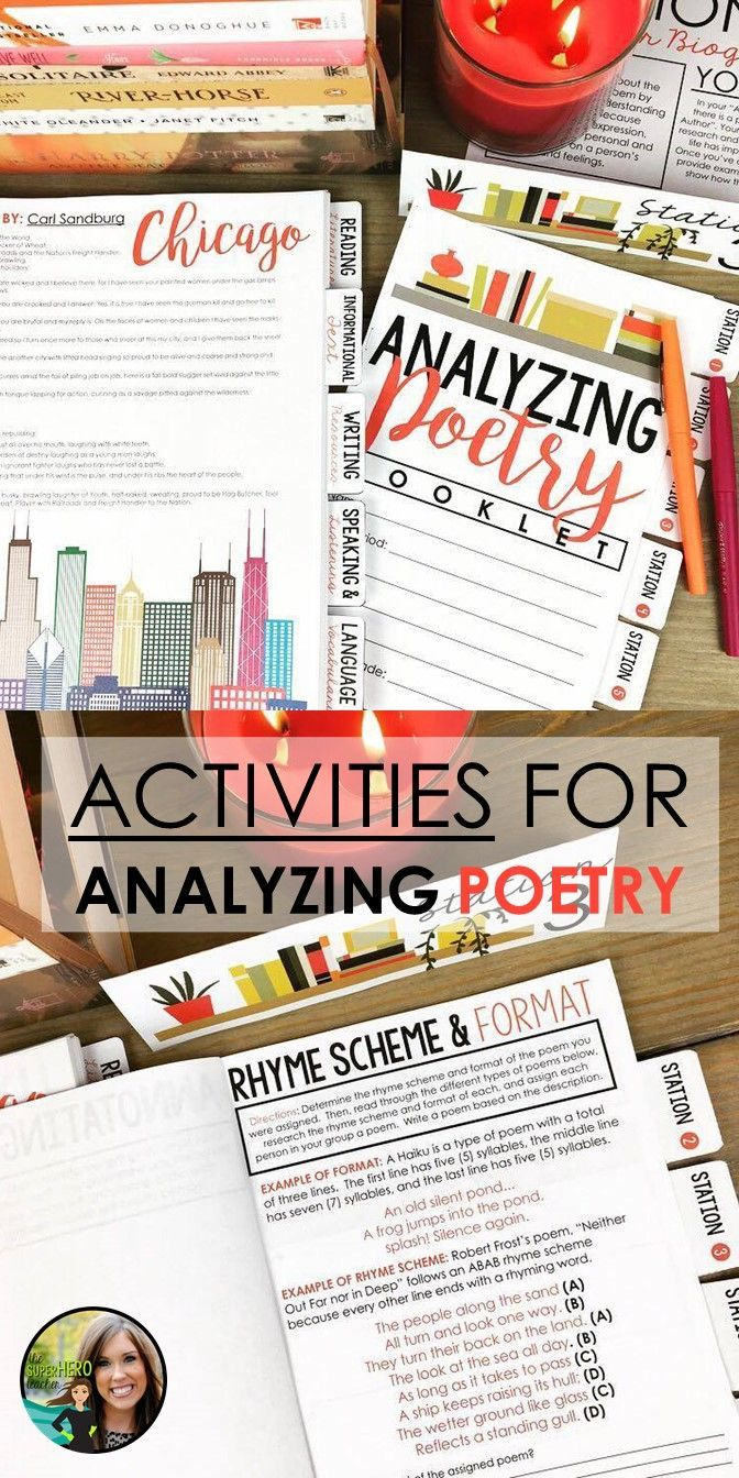 Activities for analyzing poetry   Reading poetry   Poetry stations   Poetry flipbook   Poetry activities   Grades 7-12   Middle school poetry   High School Poetry