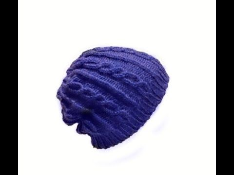 Knit Slouchy Cable Hat - Men or Women on Round Loom - EASY- Begining to End - YouTube