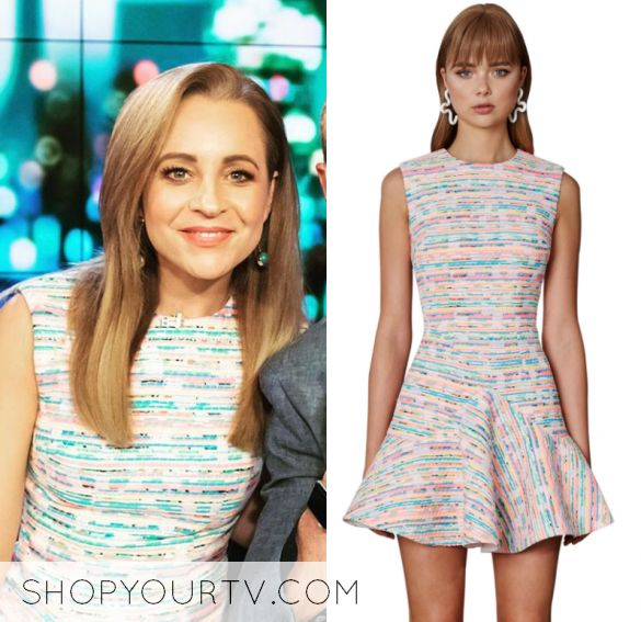 Carrie Bickmore wears this multi colored striped short sleeve dress in this episode of The Project on Thursday October 5th, 2017. It is the By Johnny Neon Weave V Flare Mini Dress.