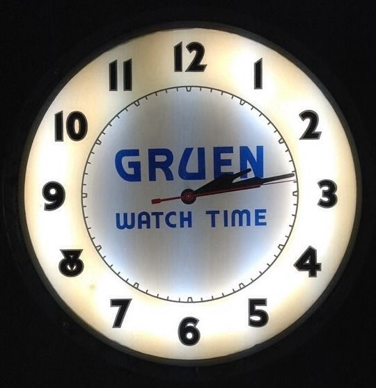 vintage gruen watch time neon clock 1930 39 s jewelry store. Black Bedroom Furniture Sets. Home Design Ideas