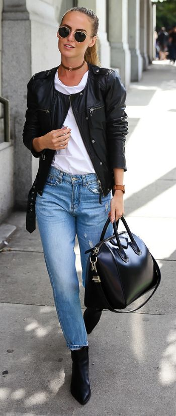 Jeans + t-shirt + inspired addition of leather + Kristin Sundberg + sleek ponytail + even sleeker collarless leather jacket  Choker Trend: Jeans: Chiquelle, T-shirt: Aplace, Jacket: Modström, Shoes: Jennie-Ellen, Bag: Givenchy, Choker: Na-kd, Sunglasses: Rayban