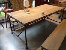 Лофт американский стиль страна мебель промышленности , стол стол старинные деревянные столы, кованого железа стол(China (Mainland))