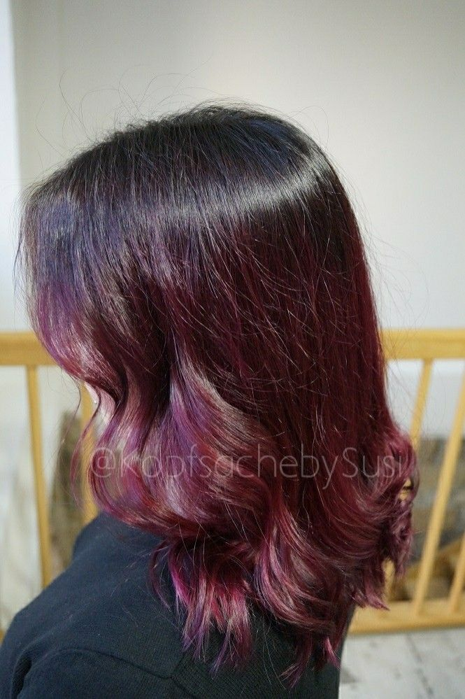 Berry red violet purple ombré sombré balayage painting hairdye longbob hairwaves ghd wella innosense koleston redken