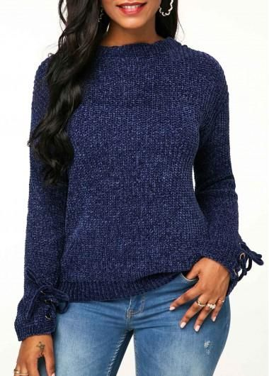 872d8e6f5700  fall  fashion  trends  styles  AdoreWe  Rotita -  unsigned Long Sleeve Lace  Up Detail Sweater - AdoreWe.com