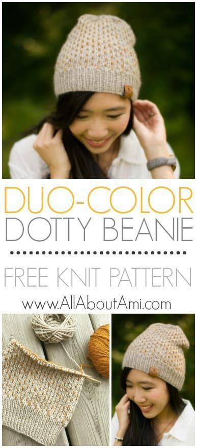 Duo-Color Dotty Beanie Knit Pattern | Knitting & crochet | Pinterest