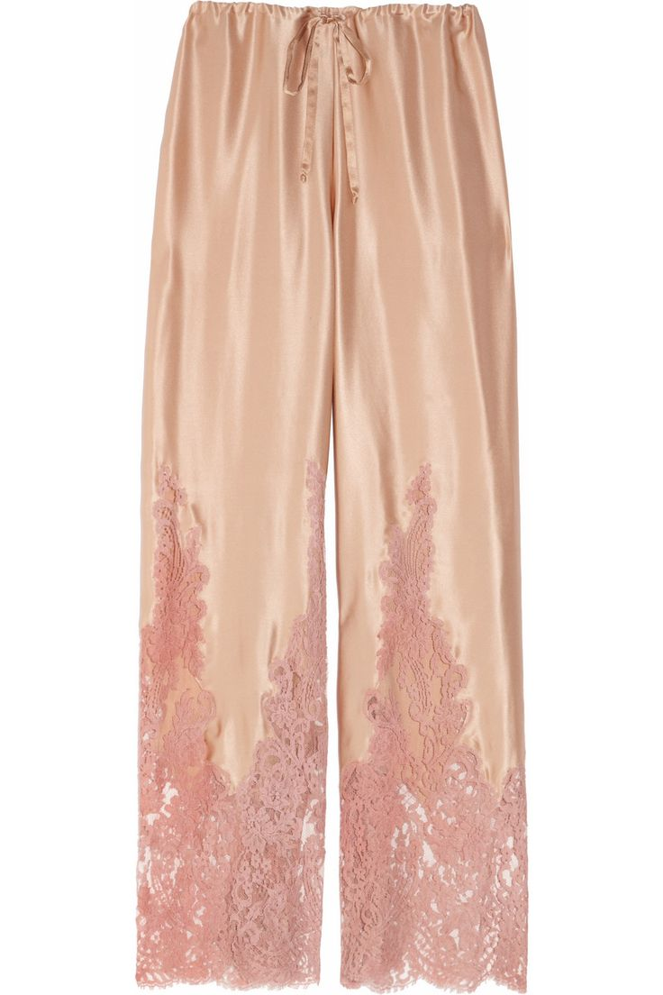 Rosamosario | Silk-satin and lace pajama pants