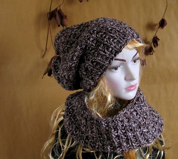 Chunky Knit Infinity Loop Scarf / Cowl / Hat Snood. Purple/ Brown. Spring / Fall / Winter Hipster Fashion.