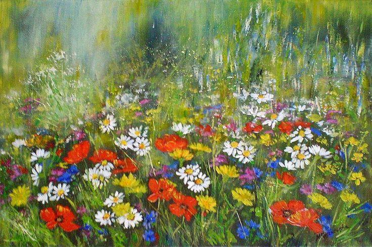 Kwietna łączka - obraz akrylowy 40x60 - Maria Roszkowska