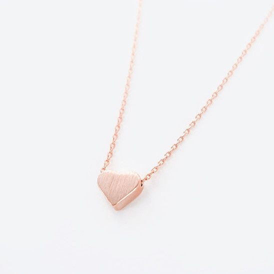 Dainty Simple Brushed Pink Rose Gold Heart Necklace