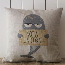 "18"" Cartoon Cute Narwhal Unicorn Pillow Case Cushion Cover Linen Sofa Kids Gift"