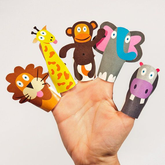 JUNGLE Animals Paper Finger Puppets - Printable PDF Toy - DIY Craft Kit Paper Toy - Lion, Giraffe, Monkey, Elephant, Hippo - Party Favor