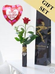 Single Kiss Rose Vase With Happy Valentine's Day Balloon