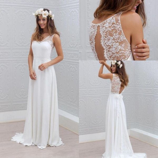 Discount Beach Wedding Dresses 2017 V Neck Sweep Train Lace Chiffon Sexy Backless Seaside Bohomian Bridal Gowns Best Wedding Dresses Bridal Wear From Edressy, $96.49| DHgate.Com