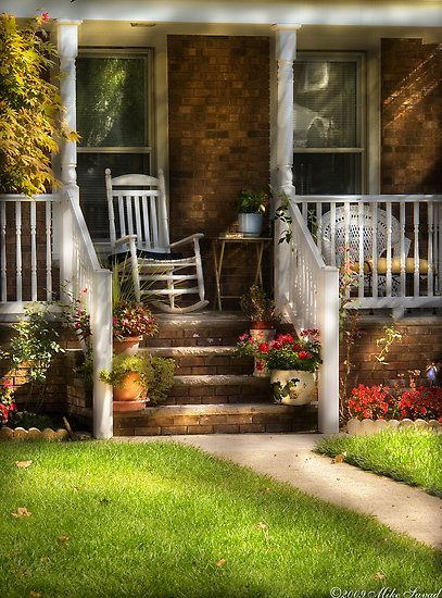 I would enjoy sitting here for a spell and watching the world go by my neighborhood or visiting with a friend. Charming...