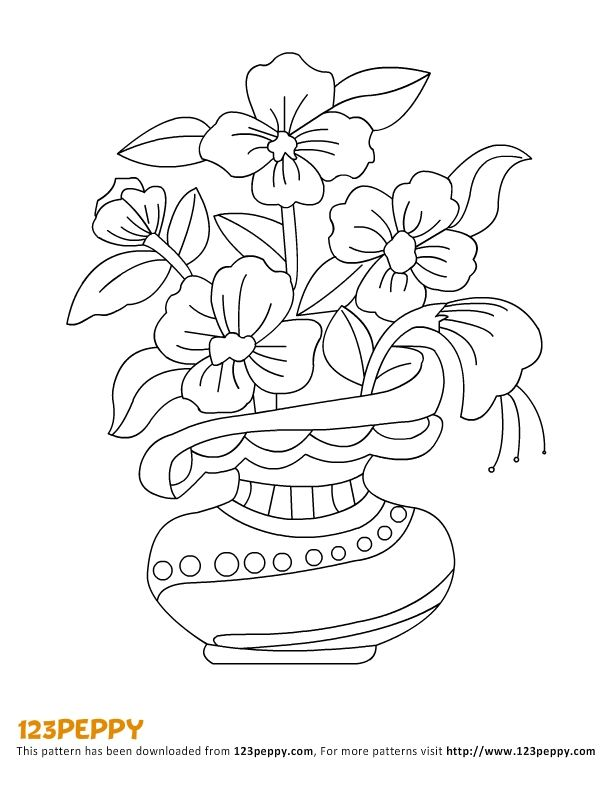 Line Drawing Flower Vase : Flowers vase pattern flower and on pinterest