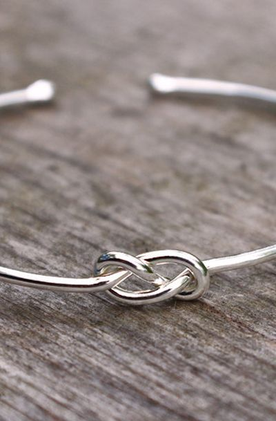Sterling Silver Infinity Bridesmaid Jewelry Set or Single, Tie the Knot Bracelet