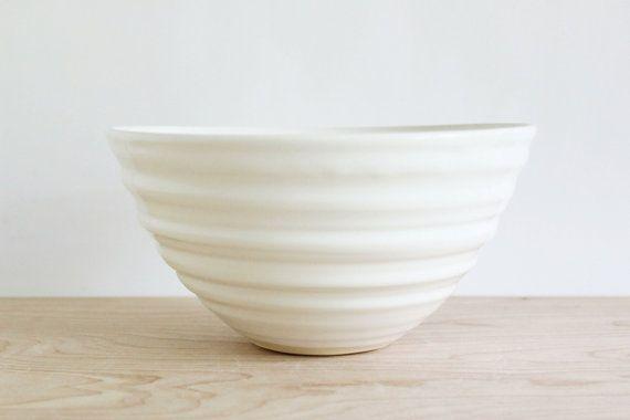 White stoneware pottery bowl, large modern ceramic bowl made in Virginia