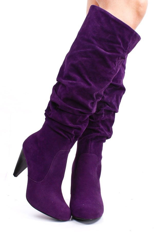PURPLE SUEDE CHUNK HEEL MID-CALF BOOTS $25.99 - this site has