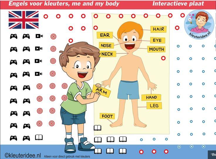 """Engels leren aan kleuters, kleuteridee, Heel veel liedjes, spellen, verhalen, interactieve lessen over """"mij en mijn lichaam"""" Me and my body, interactive image for kindergarten English lessons for IBW and digiboard"""