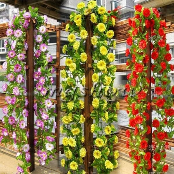6 56ft String Fake Artificial Flowers Vine Ivy Leaf Garland Floral Home Decor
