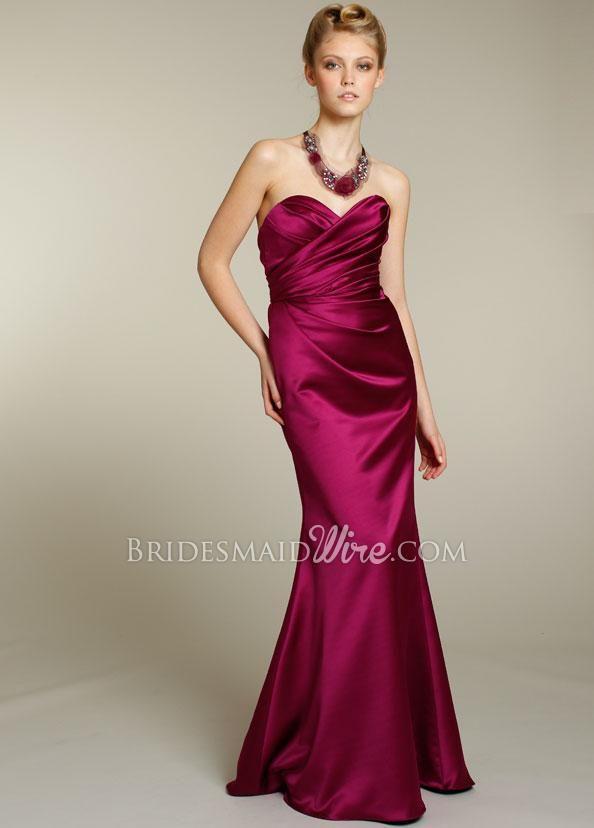 magenta satin strapless draped sweetheart neck a line long bridesmaid dress