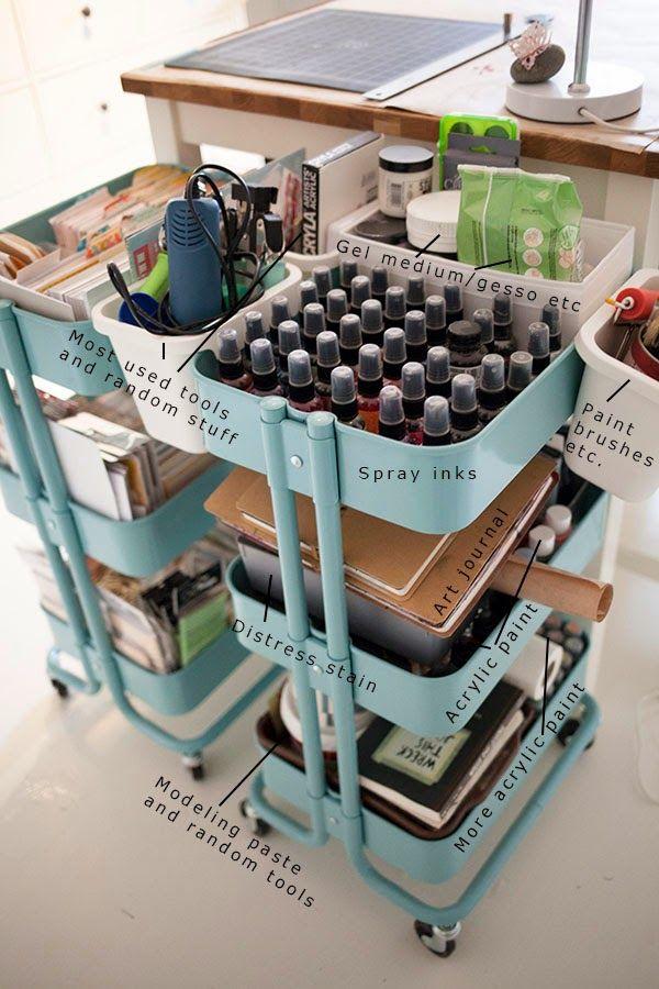 IKEAのワゴンRASKOGを2つセットで用いた道具用の収納