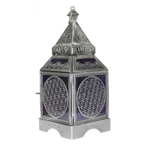 Flower of Life Silver Lantern - The Hippie House