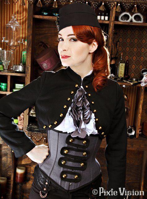 Steampunk Felicia Day     Via : http://www.flickr.com/photos/feliciaday/7151227239/sizes/o/in/photostream/: Feliciaday, Military Steampunk, Felicia Day, Steam Punk, Costume, Boleros, Clockwork Couture, Steamship Captain, Steampunk Felicia