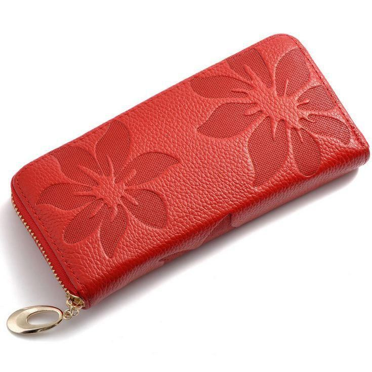 Women Wallets Fashion Flower Print Genuine Leather Wallets Women Clutch Wallets Lady Vintage Clutch Bag Coin Purse Women - 10 MINUS