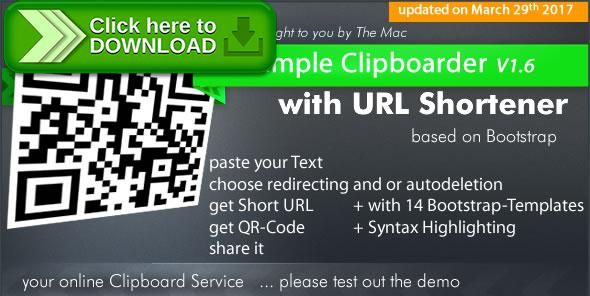 [ThemeForest]Free nulled download Simple Clipboarder with URL Shortener Service from http://zippyfile.download/f.php?id=53531 Tags: ecommerce, bootstrap, clip board, clipboard, contact, jquery, share, short urls, syntax highlighter, url shortener