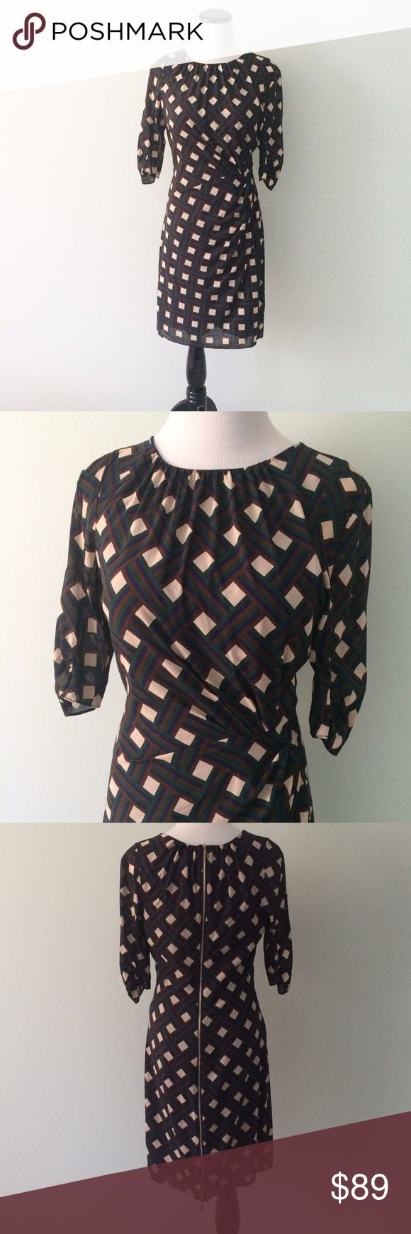 """WHISTLES Silk navy cream Geometric Dress High-end UK brand. Beautiful 85% silk and 15% elastane dress. Gently worn once. Navy blue, cream, brown and green. Full zipper on back of dress. Can be zipped from top or bottom. Ruched on side of waist. Fully lined. Length 36"""".  Chest 17.5"""". Whistles Dresses"""