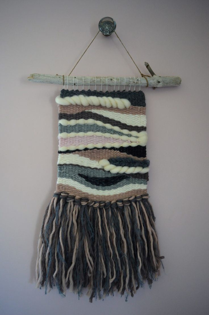 Handwoven wall hanging made by Woolly Thyme Weavings in Lunenburg, Nova Scotia. $180.00.
