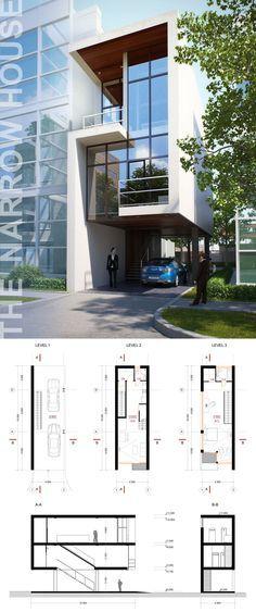 Plano y foto de una CASA ANGOSTA de 2 pisos.