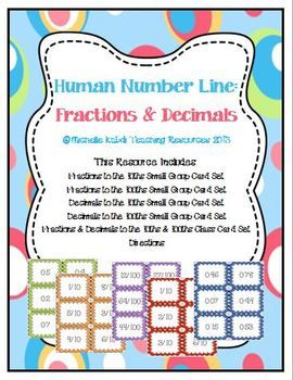 Human Number Line – Fractions and Decimals – Math Center or Whole Group Activity
