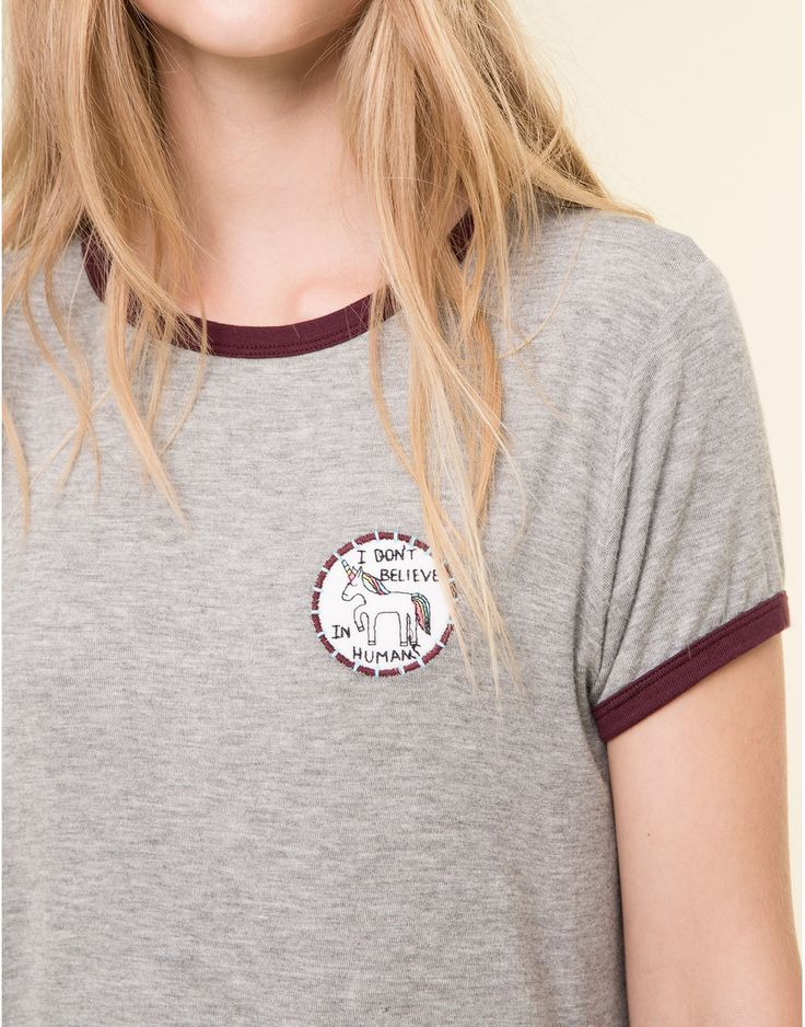 SHORT SLEEVED GREY TEE - T-SHIRTS AND TOPS - WOMAN - PULL&BEAR United Kingdom