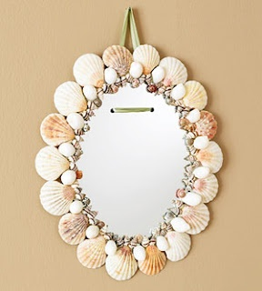 Mirror Decorated with Seashells.