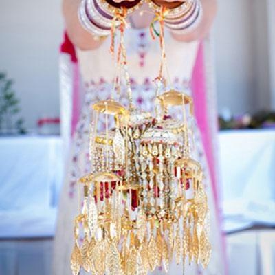 Beautiful kaliras with gold leaf work. Image- Pinterest via Kanchan - bollywoodshaadis.com