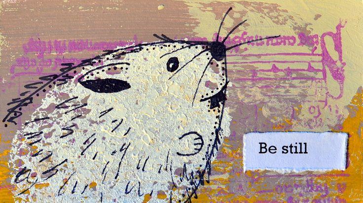 Be still. Miniature art by Bea Pierce.