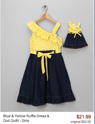 Zulily: Dollie & Me Outfits- Starting at $11.99!Kids Style, Dolls Outfit, Blue Yellow, Baby Girls, Ruffles Dresses, Baby Clothing, Yellow Ruffles, Kids Clothing, Girls Style